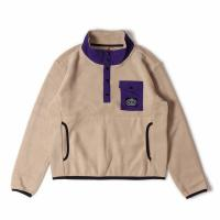 【POLER/ポーラー】SNAP FLEECE - DARK BEIGE/BLACK